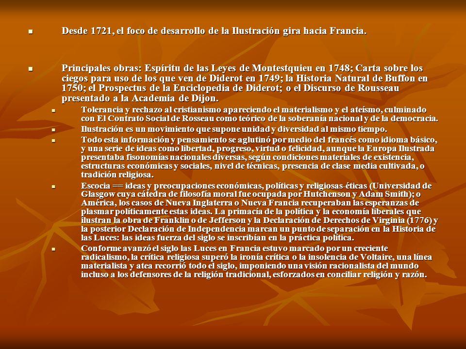Desde 1721, el foco de desarrollo de la Ilustración gira hacia Francia.