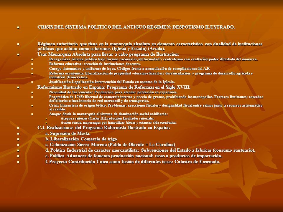 CRISIS DEL SISTEMA POLITICO DEL ANTIGUO REGIMEN: DESPOTISMO ILUSTRADO.