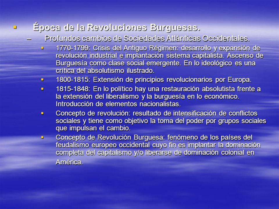 Época de la Revoluciones Burguesas.