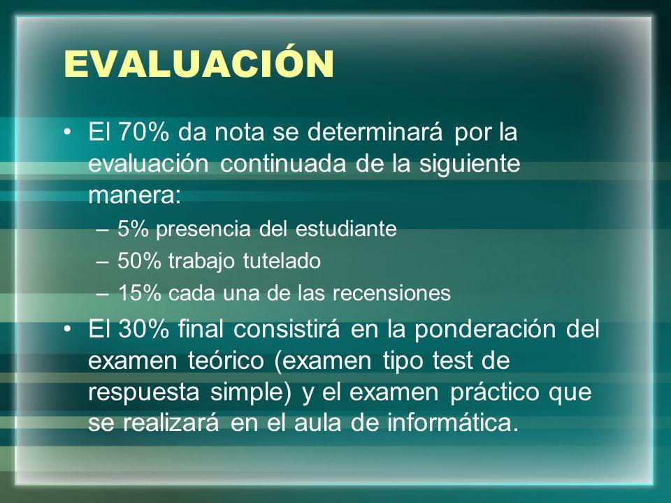 EVALUACIÓN El 70% da nota se determinará por la evaluación continuada de la siguiente manera: 5% presencia del estudiante.
