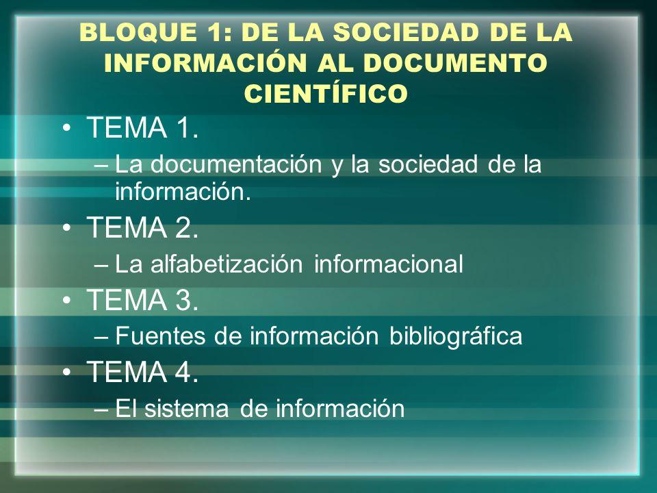BLOQUE 1: DE LA SOCIEDAD DE LA INFORMACIÓN AL DOCUMENTO CIENTÍFICO