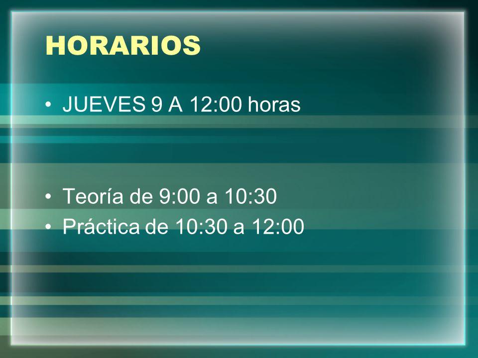 HORARIOS JUEVES 9 A 12:00 horas Teoría de 9:00 a 10:30