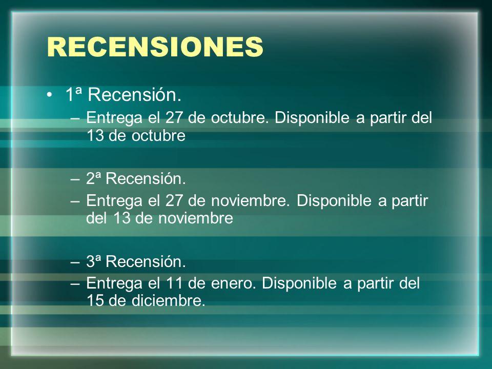RECENSIONES 1ª Recensión.