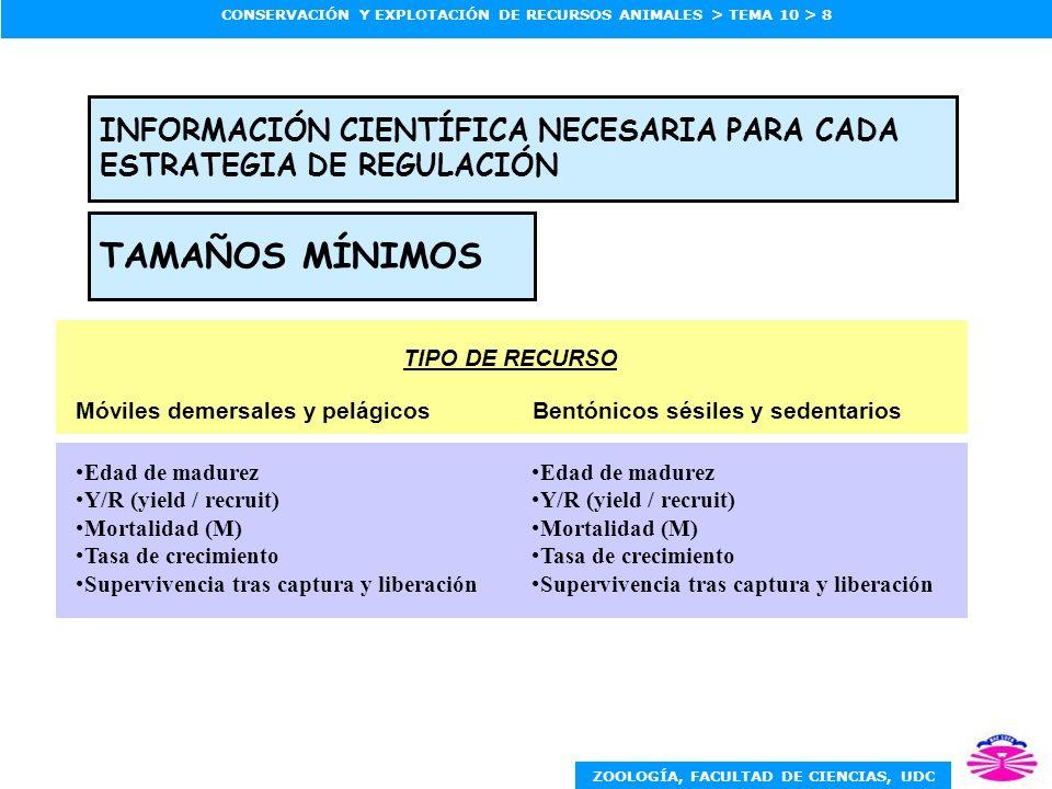 INFORMACIÓN CIENTÍFICA NECESARIA PARA CADA ESTRATEGIA DE REGULACIÓN