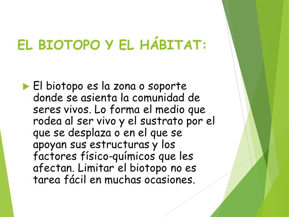 EL BIOTOPO Y EL HÁBITAT: