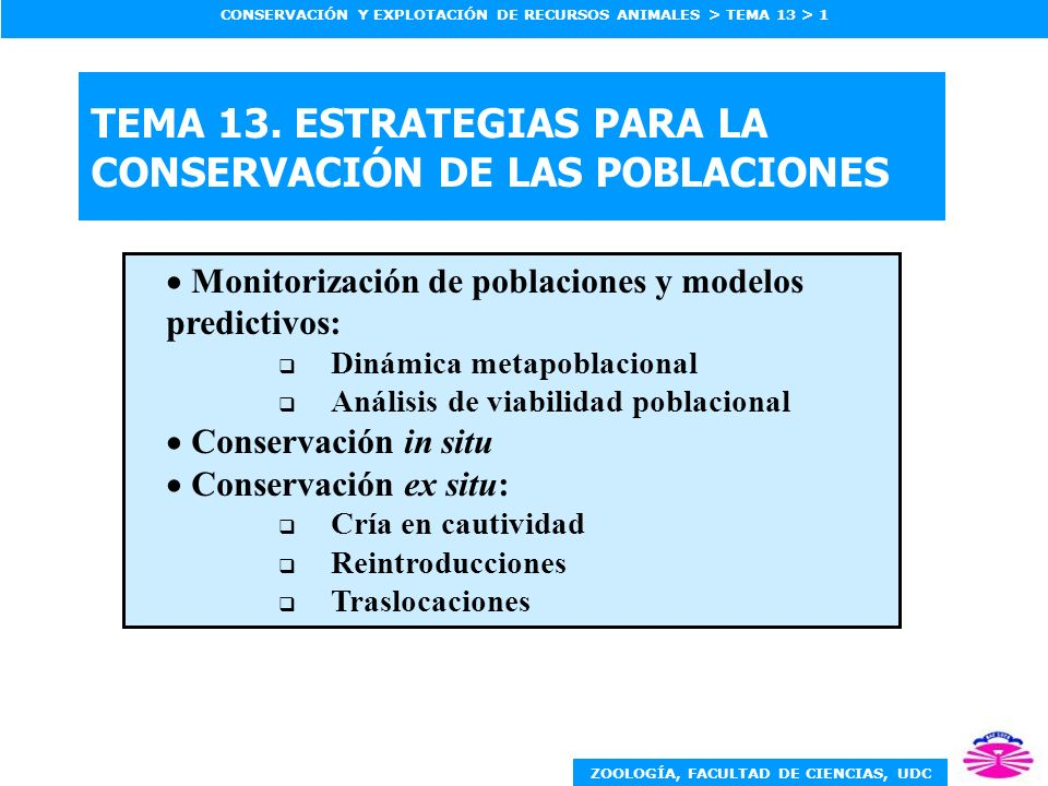 TEMA 13. ESTRATEGIAS PARA LA CONSERVACIÓN DE LAS POBLACIONES