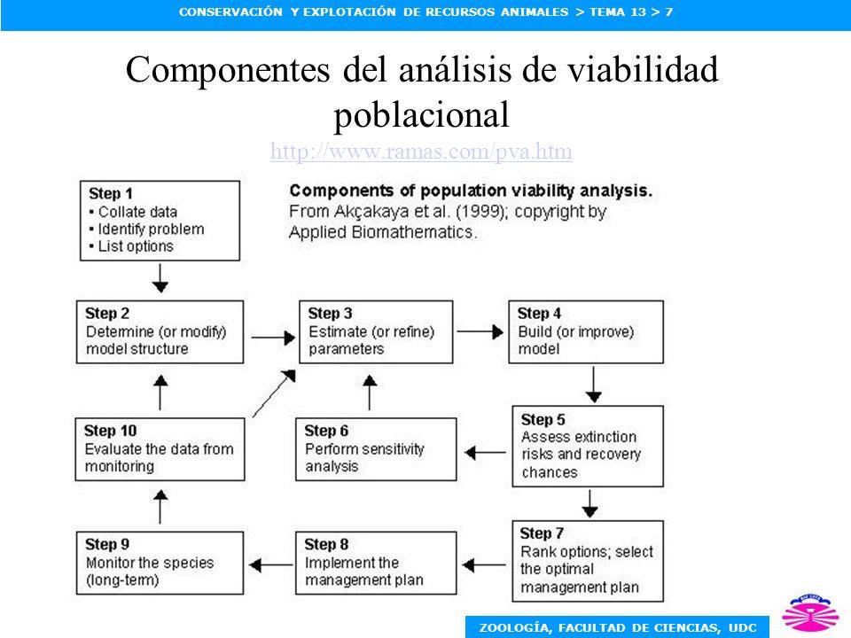 Componentes del análisis de viabilidad poblacional http://www. ramas
