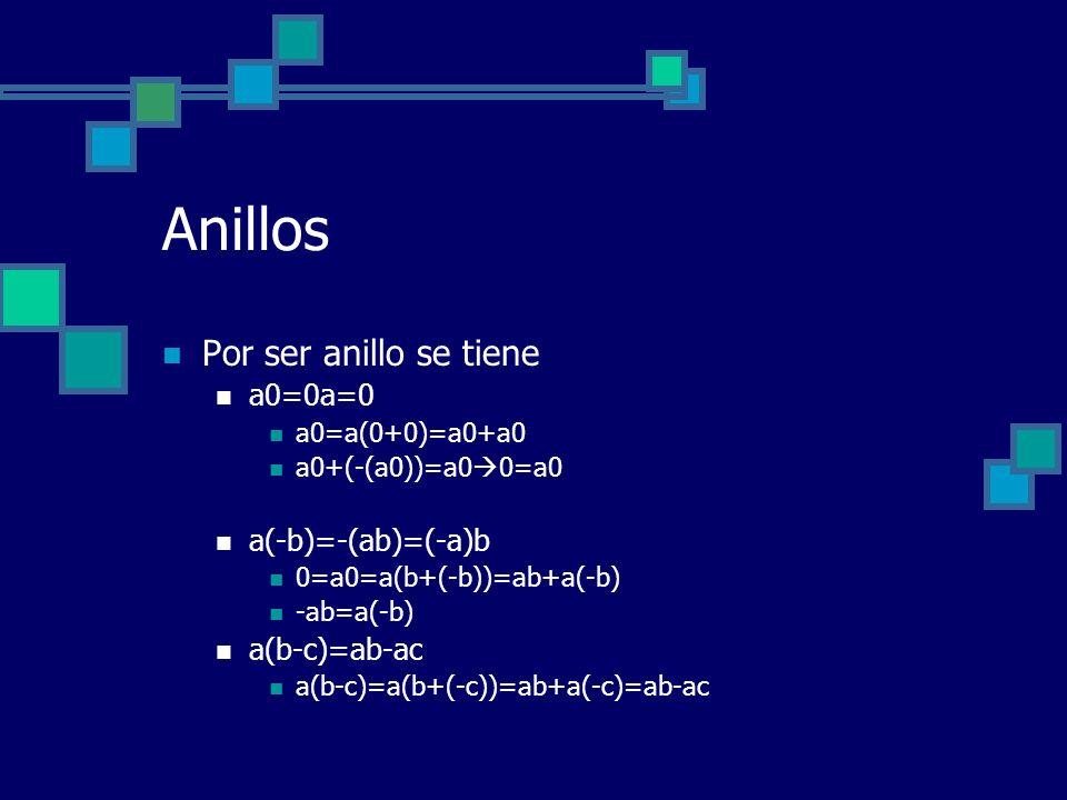 Anillos Por ser anillo se tiene a0=0a=0 a(-b)=-(ab)=(-a)b a(b-c)=ab-ac