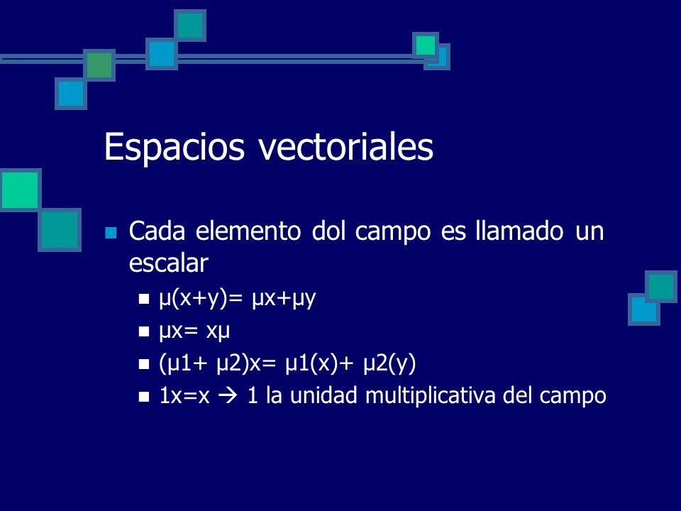 Espacios vectoriales Cada elemento dol campo es llamado un escalar