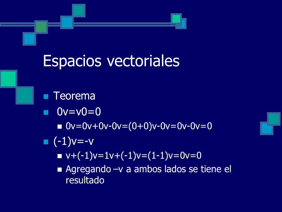 Espacios vectoriales Teorema 0v=v0=0 (-1)v=-v