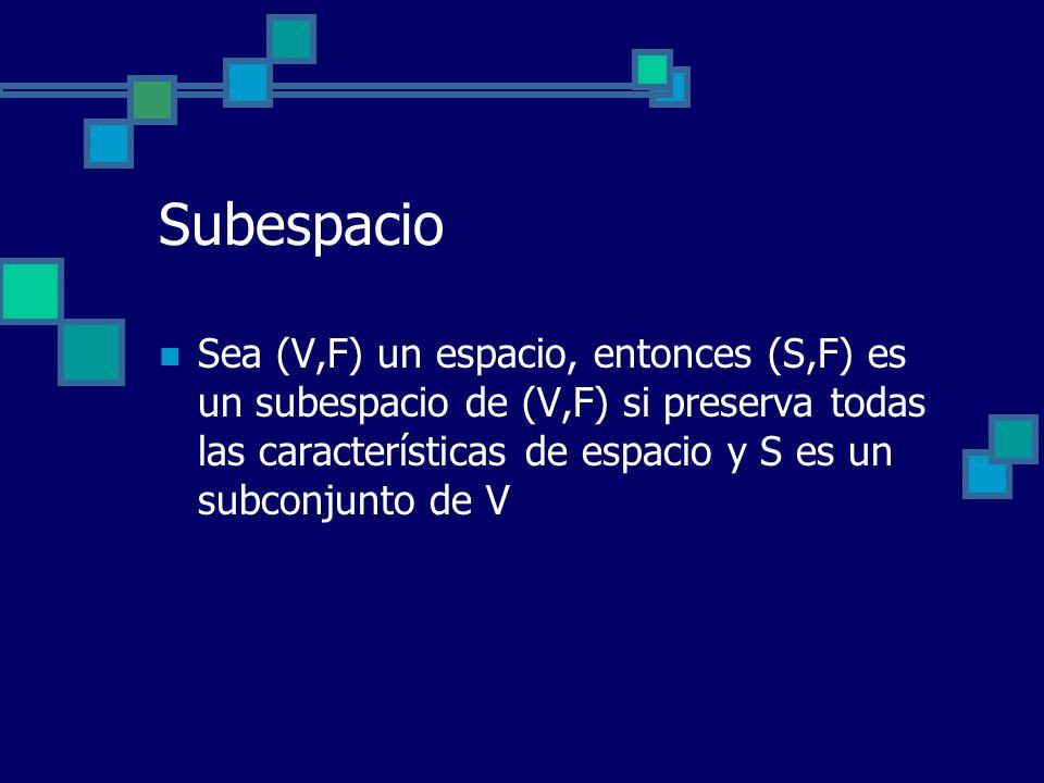 Subespacio Sea (V,F) un espacio, entonces (S,F) es un subespacio de (V,F) si preserva todas las características de espacio y S es un subconjunto de V.