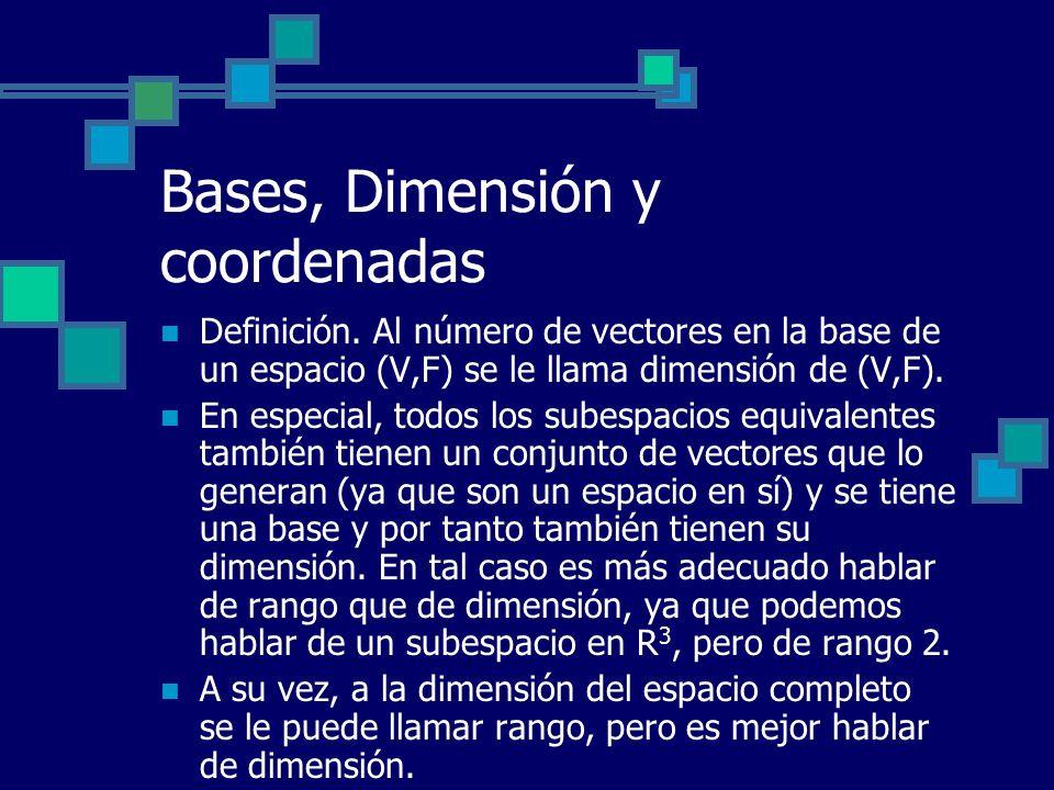 Bases, Dimensión y coordenadas