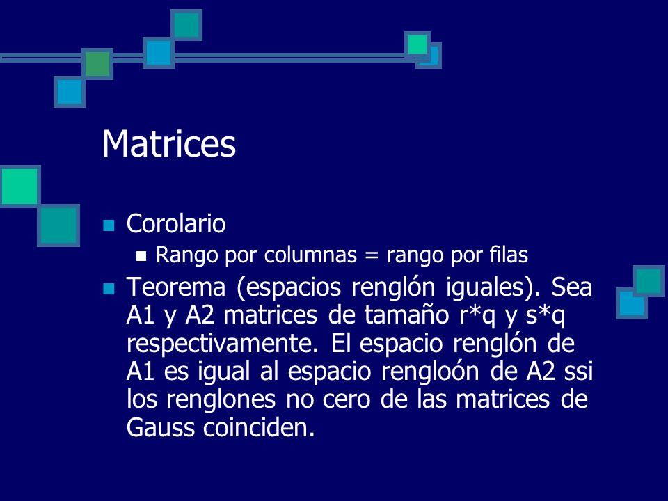 Matrices Corolario. Rango por columnas = rango por filas.