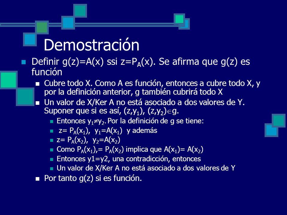 Demostración Definir g(z)=A(x) ssi z=PA(x). Se afirma que g(z) es función.