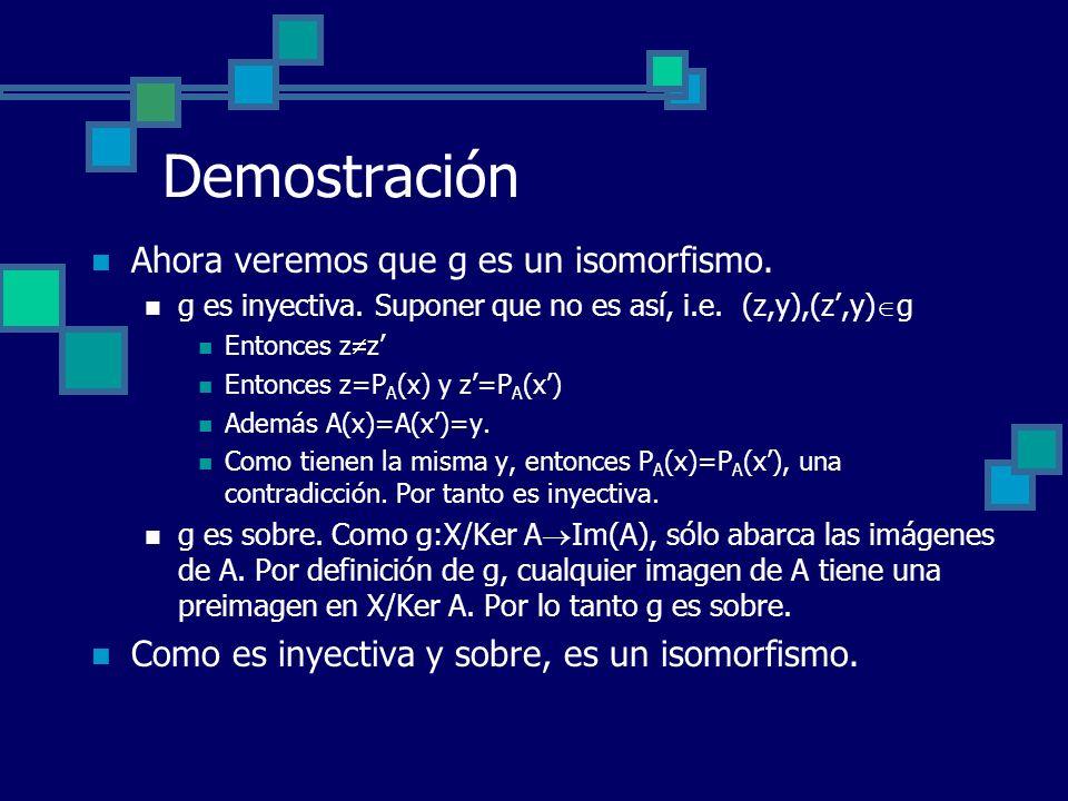 Demostración Ahora veremos que g es un isomorfismo.