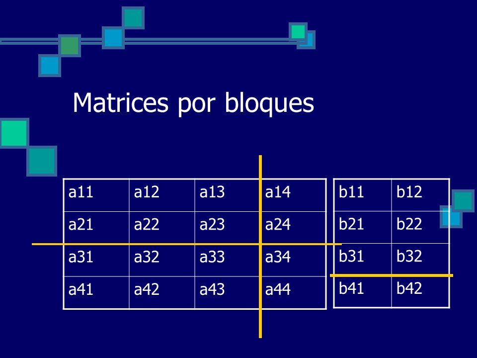 Matrices por bloques a11 a12 a13 a14 a21 a22 a23 a24 a31 a32 a33 a34