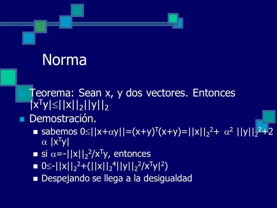 Norma Teorema: Sean x, y dos vectores. Entonces |xTy|||x||2||y||2