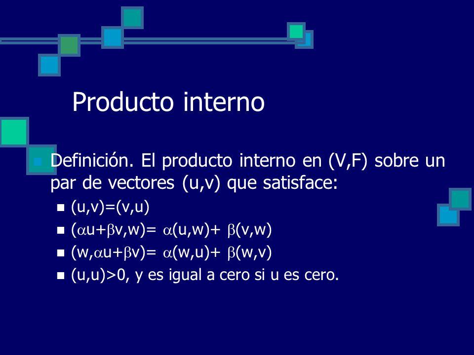Producto interno Definición. El producto interno en (V,F) sobre un par de vectores (u,v) que satisface: