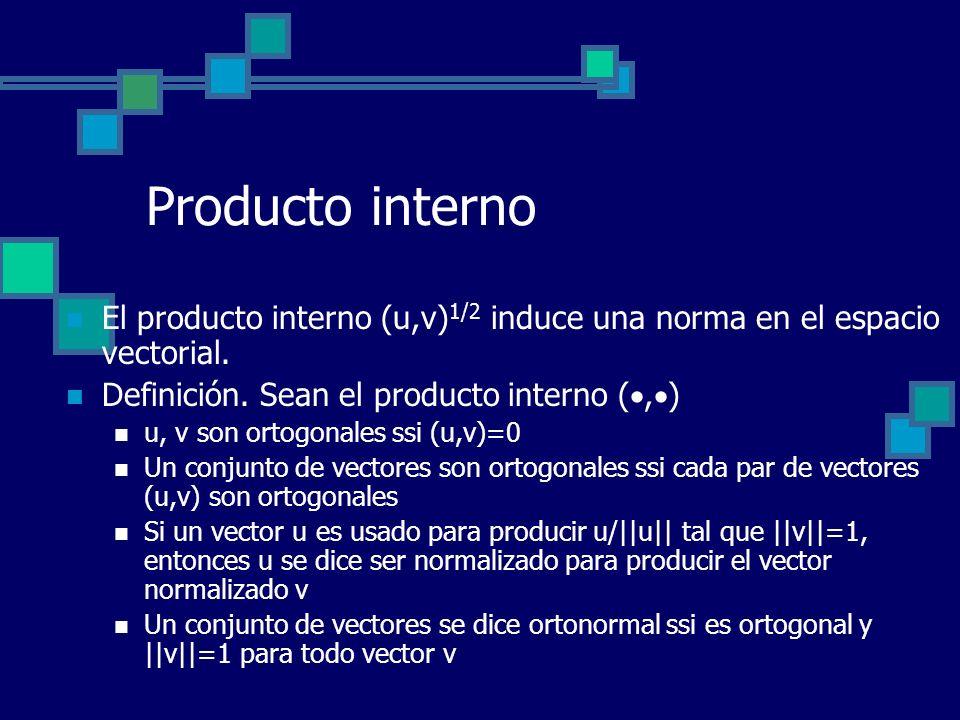 Producto interno El producto interno (u,v)1/2 induce una norma en el espacio vectorial. Definición. Sean el producto interno (,)