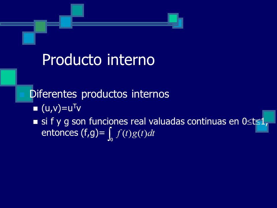 Producto interno Diferentes productos internos (u,v)=uTv