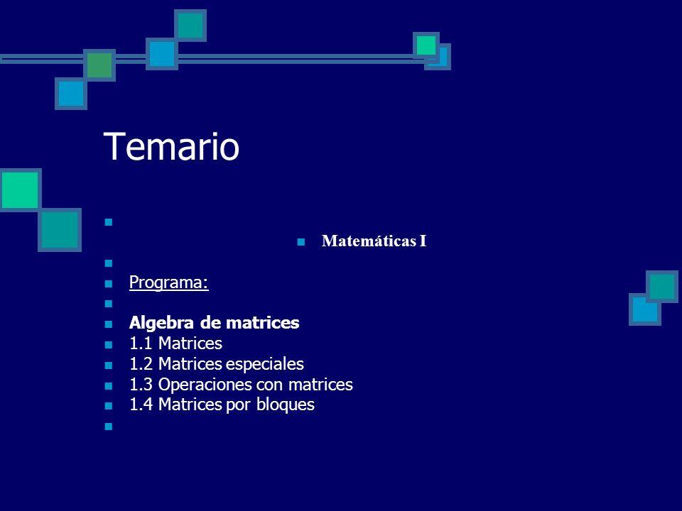 Temario Matemáticas I Programa: Algebra de matrices 1.1 Matrices