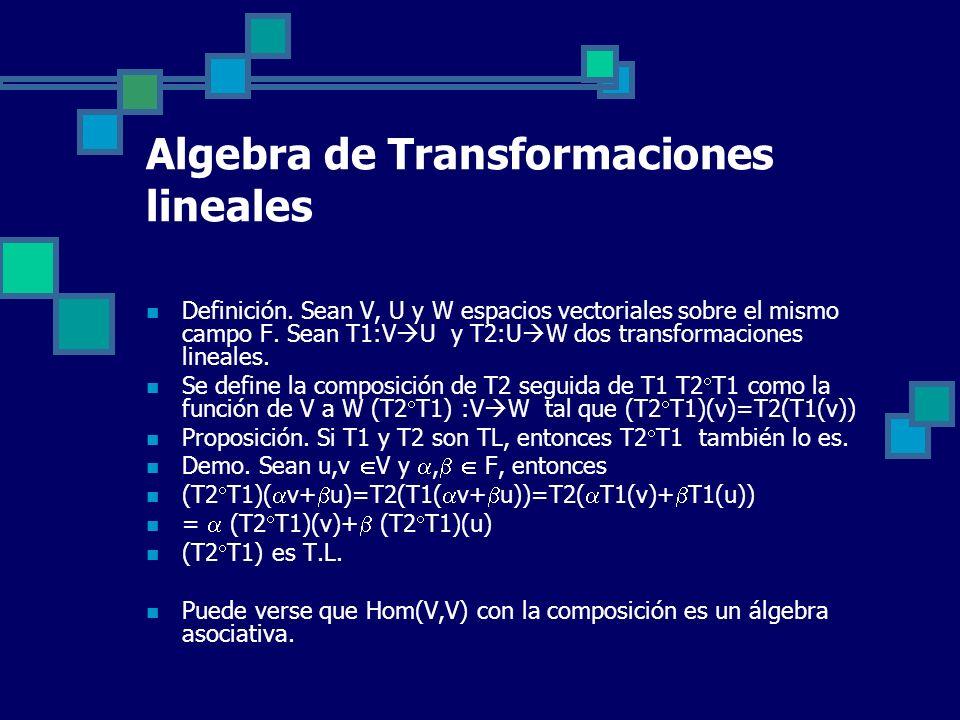 Algebra de Transformaciones lineales