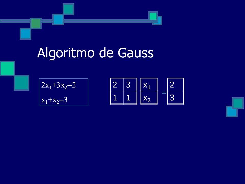 Algoritmo de Gauss 2x1+3x2=2 x1+x2=3 2 3 1 x1 x2 2 3 =