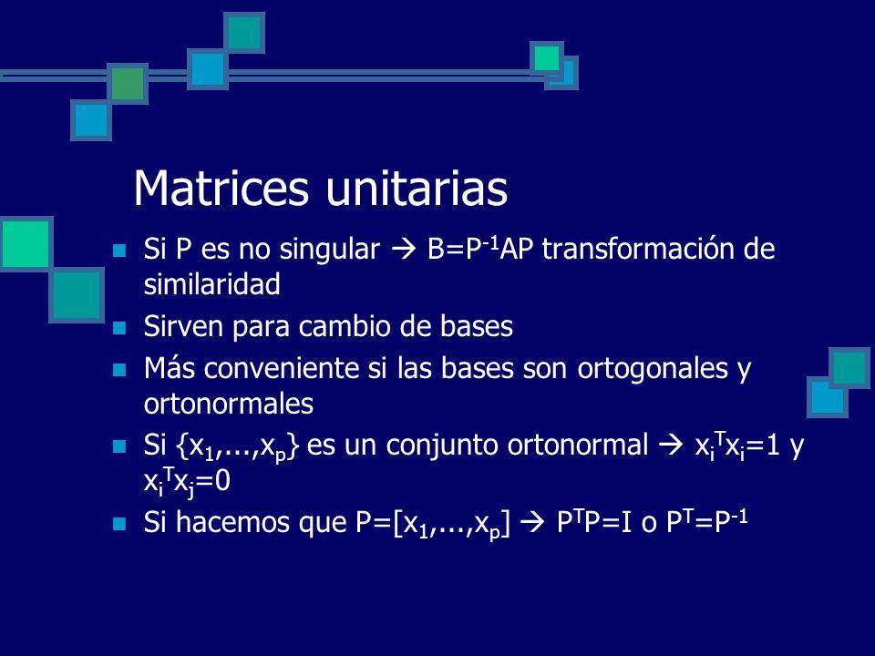 Matrices unitarias Si P es no singular  B=P-1AP transformación de similaridad. Sirven para cambio de bases.