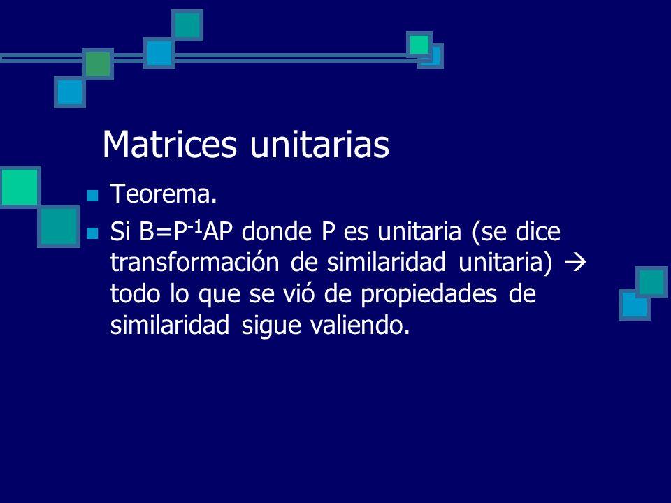Matrices unitarias Teorema.