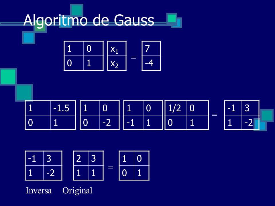 Algoritmo de Gauss 1 x1 x2 7 -4 = 1 -1.5 1 -2 1 -1 1/2 1 -1 3 1 -2 =