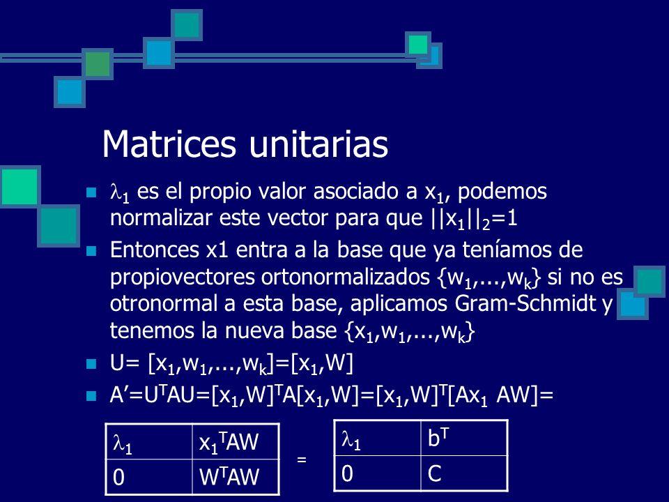 Matrices unitarias 1 es el propio valor asociado a x1, podemos normalizar este vector para que ||x1||2=1.
