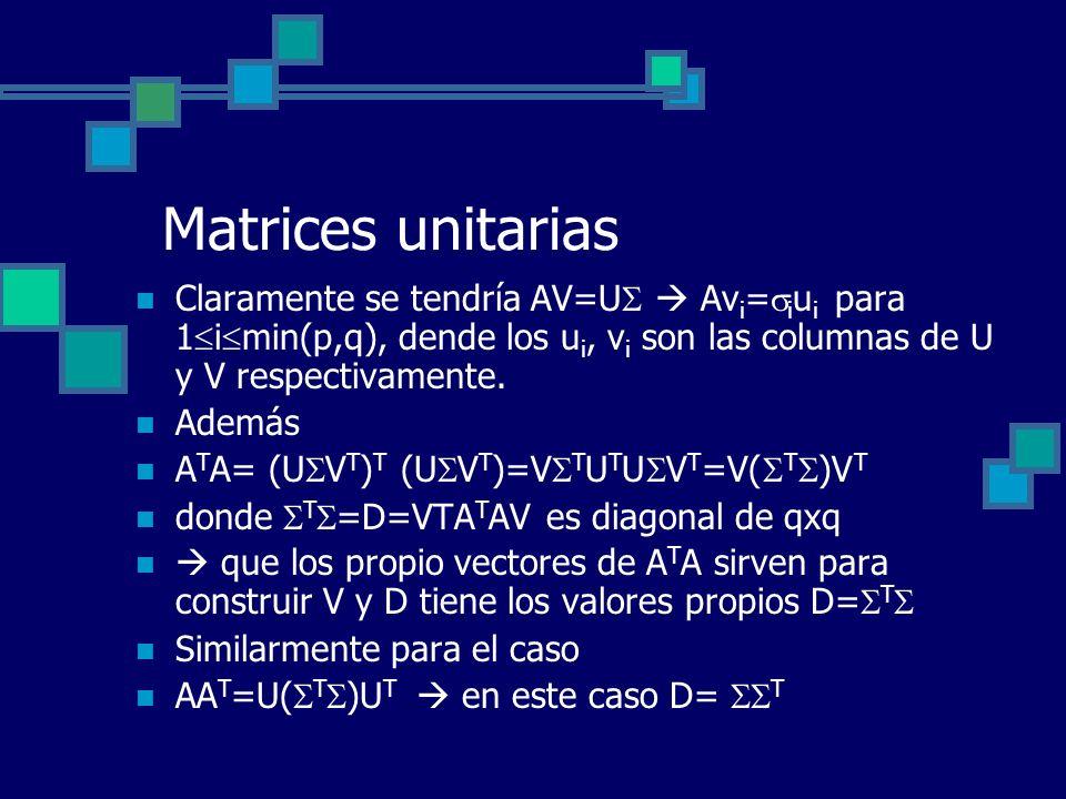 Matrices unitarias Claramente se tendría AV=U  Avi=iui para 1imin(p,q), dende los ui, vi son las columnas de U y V respectivamente.