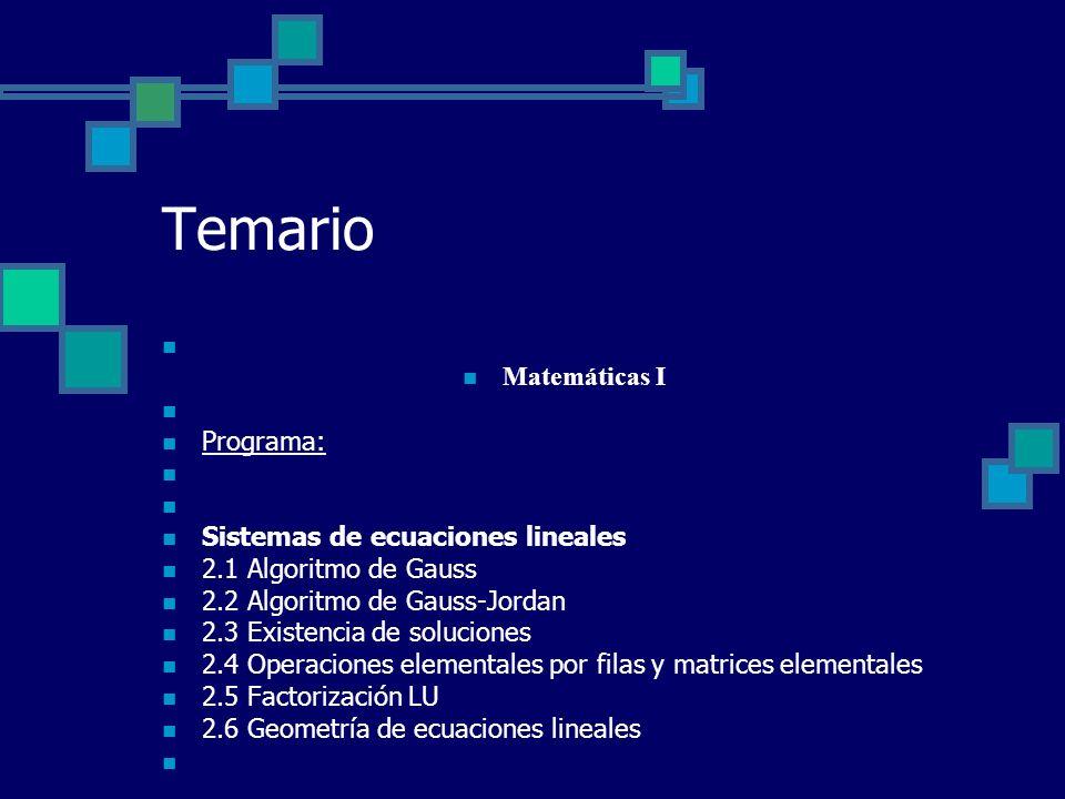 Temario Matemáticas I Programa: Sistemas de ecuaciones lineales