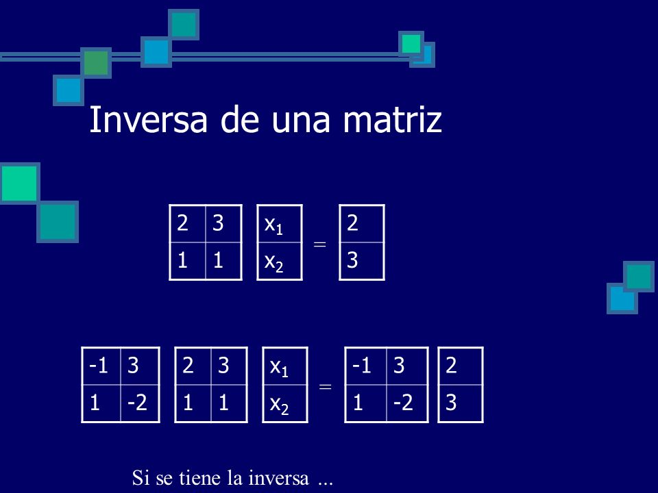 Inversa de una matriz 2 3 1 x1 x2 2 3 = -1 3 1 -2 2 3 1 x1 x2 -1 3 1