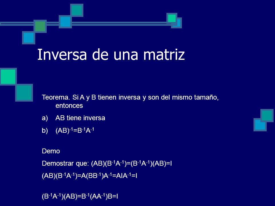 Inversa de una matriz Teorema. Si A y B tienen inversa y son del mismo tamaño, entonces. AB tiene inversa.