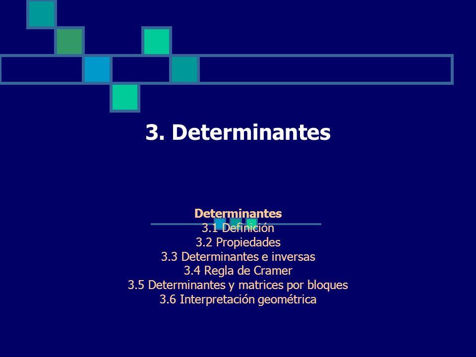 3. Determinantes Determinantes 3.1 Definición 3.2 Propiedades