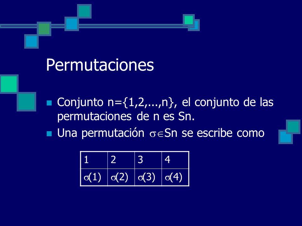 Permutaciones Conjunto n={1,2,...,n}, el conjunto de las permutaciones de n es Sn. Una permutación Sn se escribe como.