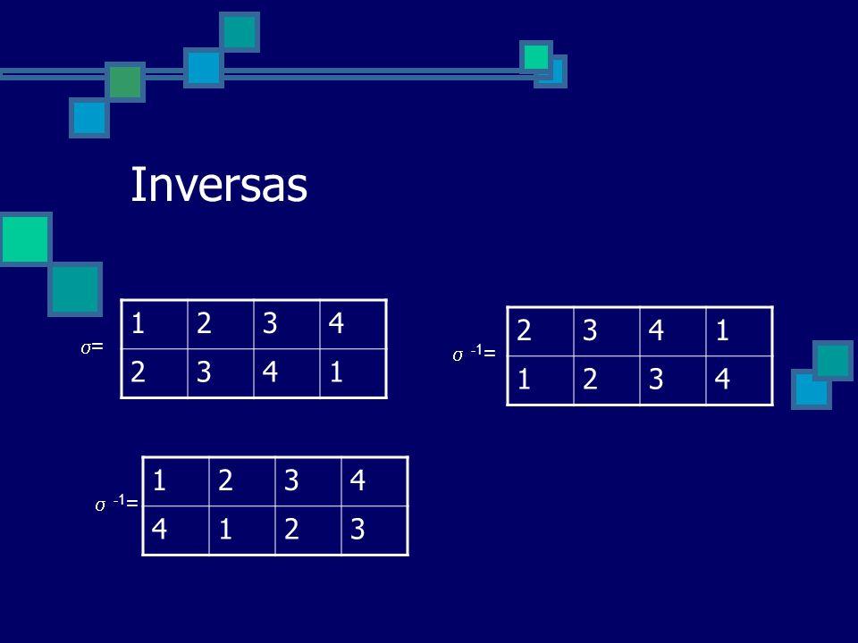 Inversas 1 2 3 4 2 3 4 1 =  -1= 1 2 3 4  -1=