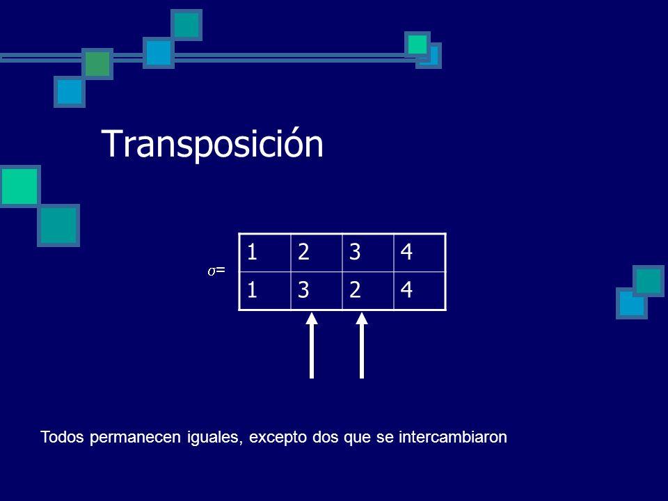 Transposición 1 2 3 4 = Todos permanecen iguales, excepto dos que se intercambiaron