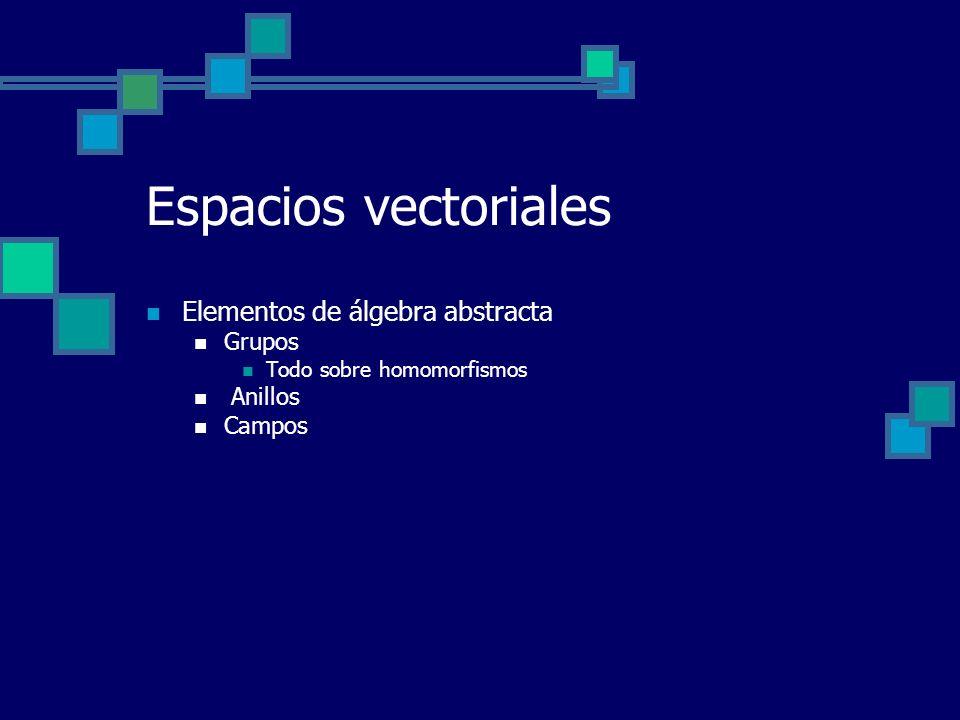Espacios vectoriales Elementos de álgebra abstracta Grupos Anillos