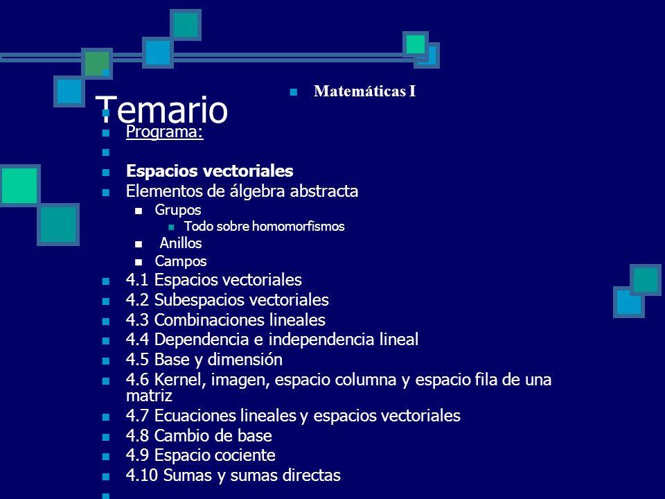 Temario Matemáticas I Programa: Espacios vectoriales