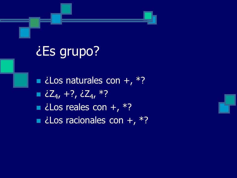 ¿Es grupo ¿Los naturales con +, * ¿Z4, + , ¿Z4, *