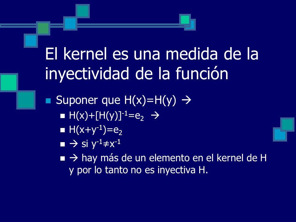 El kernel es una medida de la inyectividad de la función