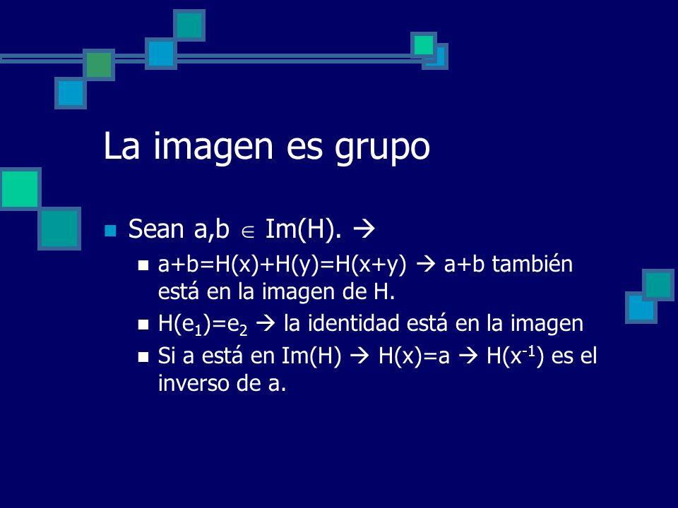 La imagen es grupo Sean a,b  Im(H). 
