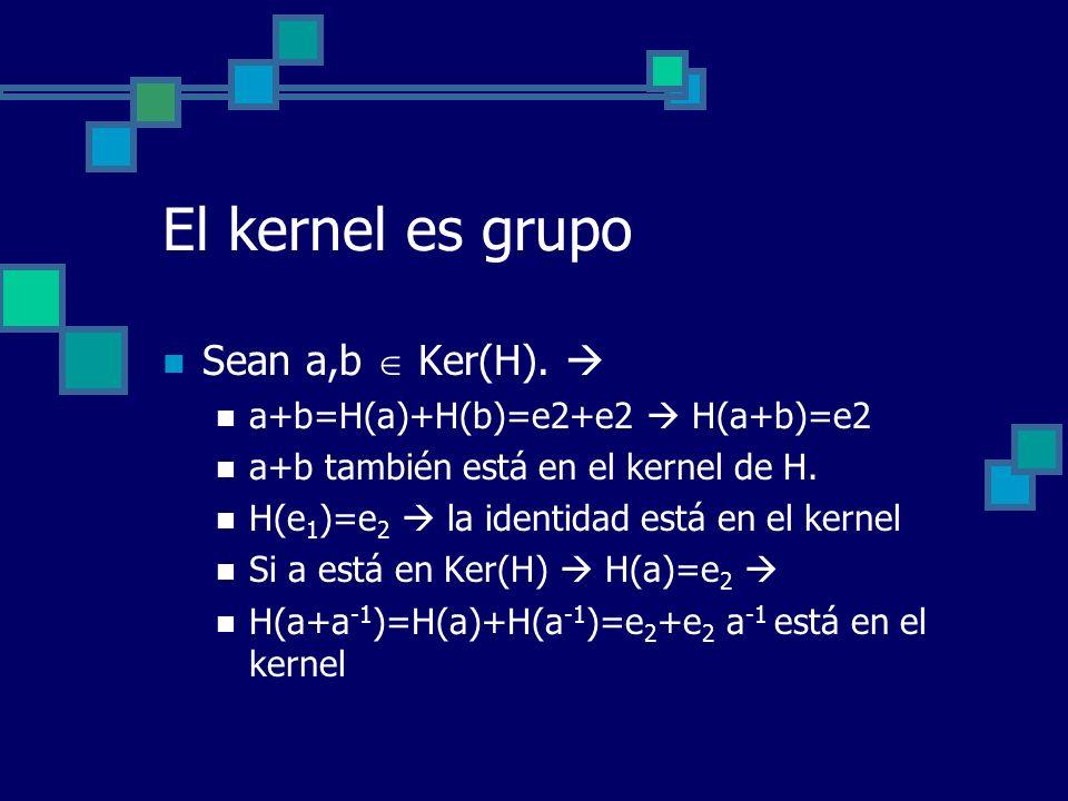 El kernel es grupo Sean a,b  Ker(H). 