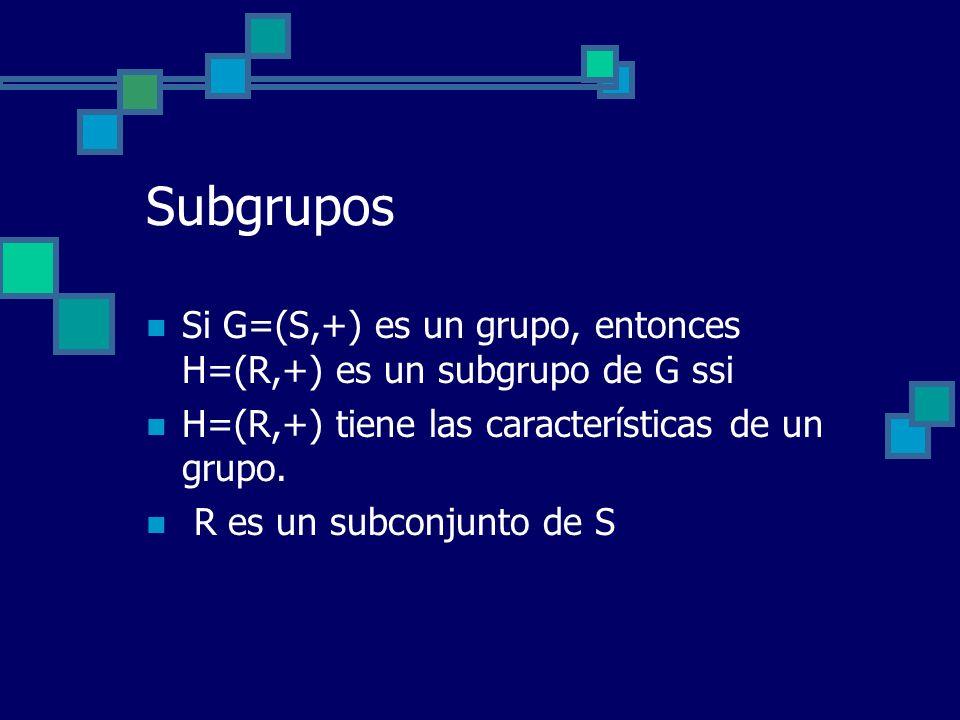 Subgrupos Si G=(S,+) es un grupo, entonces H=(R,+) es un subgrupo de G ssi. H=(R,+) tiene las características de un grupo.