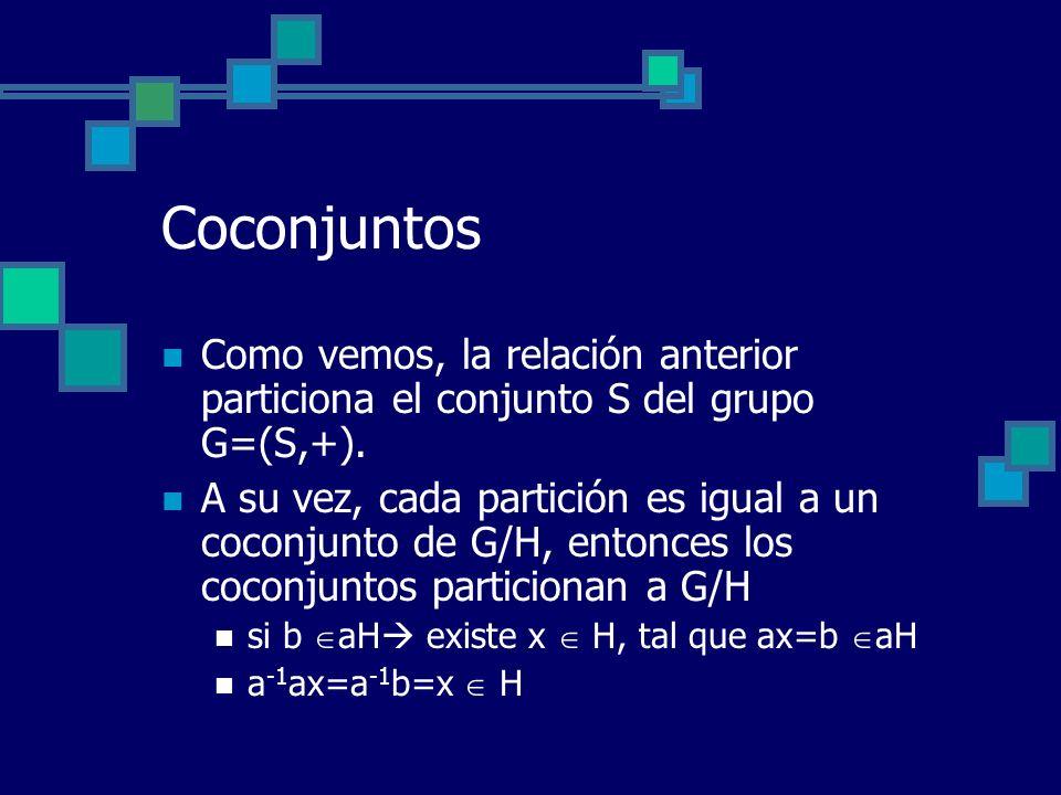 Coconjuntos Como vemos, la relación anterior particiona el conjunto S del grupo G=(S,+).