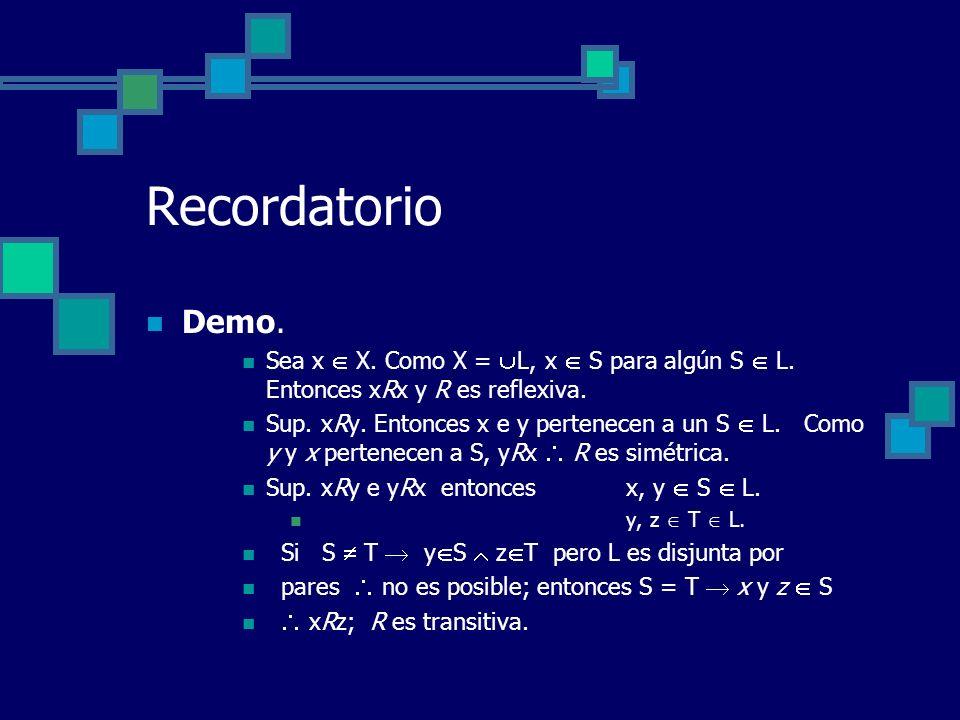 Recordatorio Demo. Sea x  X. Como X = L, x  S para algún S  L. Entonces xRx y R es reflexiva.