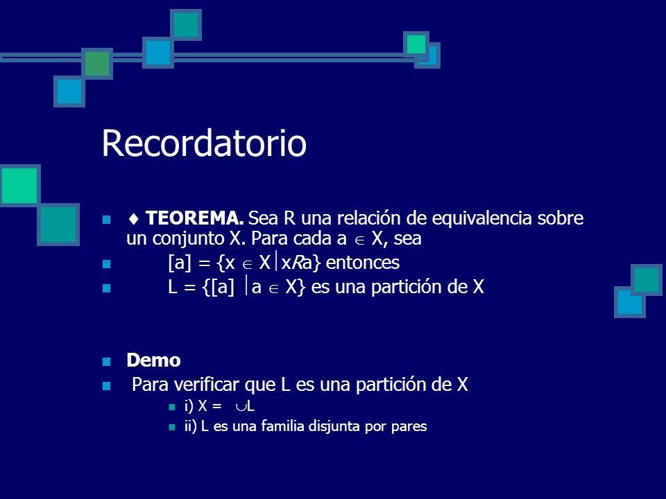 Recordatorio  TEOREMA. Sea R una relación de equivalencia sobre un conjunto X. Para cada a  X, sea.