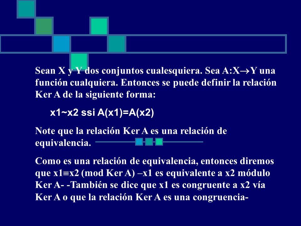 Sean X y Y dos conjuntos cualesquiera. Sea A:XY una función cualquiera. Entonces se puede definir la relación Ker A de la siguiente forma: